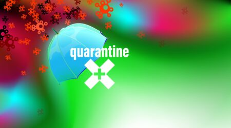 Quarantine green background, safety umbrella concept. Isolation period virus or coronavirus COVID-19, stop, protection pandemic symbol. Inscription quarantine and crosshair. illustration