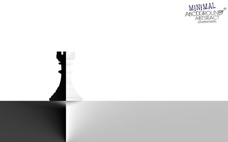Chess rook minimal contrast white or black background. Corporate symbol concept in semitone gradient silhouettes. Delicate nuance of muted shade, geometric art piece. Illustration. Eps 10.