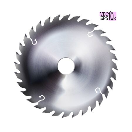 Realistic electric saw disc. Circular blade. Metal tool isolated on white background. Vector illustration Eps 10.