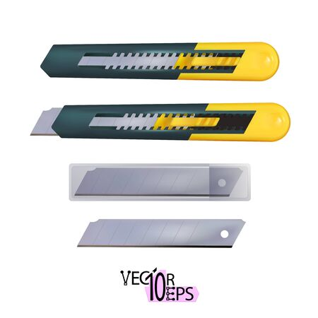 Realistic yellow construction utility knife with segmented blade and snap-off function isolated on white background. Paper cutting tool. Vector illustration Eps 10. Çizim