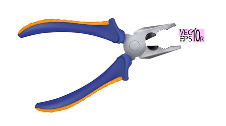 Realistic pliers with plastic handles isolated on white background. Hand tools for repair and construction. Vector illustration Eps 10. Çizim