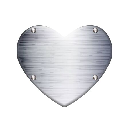 Textured Metal name plate heart shaped, icon isolated on white background. Realistic love symbol. Valentines day sign, emblem, Graphic and web design logo or label with rivets, Vector illustration. Çizim
