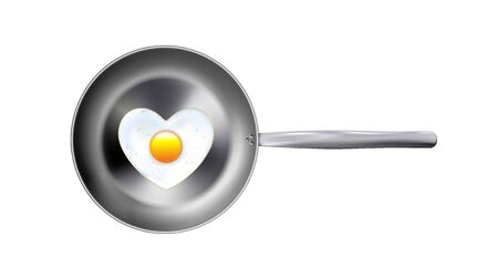 Fried eggs and realistic metal frying pan, top view isolated on white background. Vector illustration kitchen utensil.   Can be use decorate for menu, paper, web, advertising, icon, brochure. Illustration