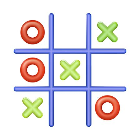 Realistic plastic multi colored toy Tic Tac Toe. Cross-zero with colors red and green. Vector illustration EPS 10