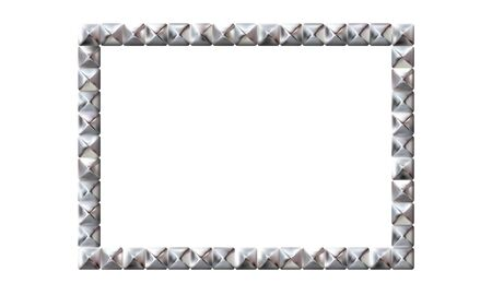 Rectangle realistic frame from silver square rivets pyramid claws for leather. Slender on white background. Steel, photo frame template. For picture. Vector illustration Eps 10.