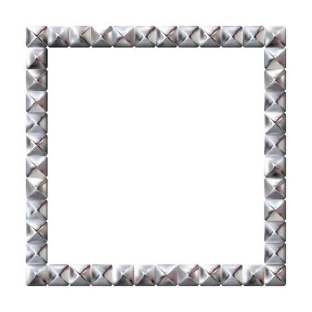 Square realistic frame from silver square rivets pyramid claws for leather. Slender on white background. Steel, photo frame template. For picture. Vector illustration Eps 10.