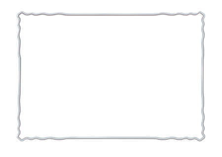 Rectangle realistic frame metal or silver with waved corner elements. Slender on white background. Steel, photoframe template. For picture. Vector illustration Eps 10. Çizim