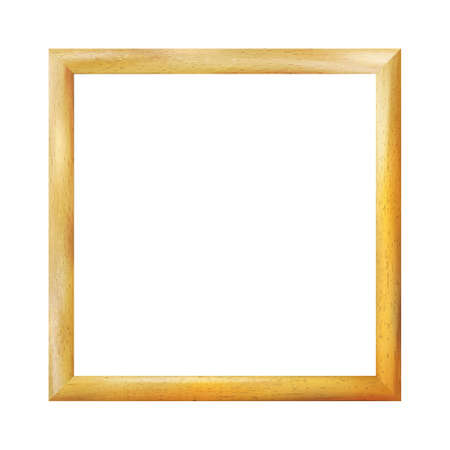Square wooden realistic frame isolated on white background. Vintage simple decorative amber border. Deco elegant yellow art object. Decoration, space for photo, image. Vector illustration Eps 10. Çizim