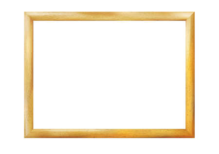 Rectangle wooden realistic frame isolated on white background. Vintage simple decorative amber border. Deco elegant yellow art object. Decoration, space for photo, image. Vector illustration Eps 10.