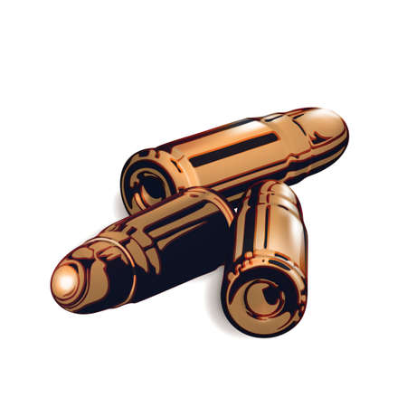 Composition from Three 3d golden or brass pistol cartridges. Isolated realistic on white background. Isolated gold cartridge with a bullet cartoon. Handgun ammo. Vector illustration Eps 10. Çizim