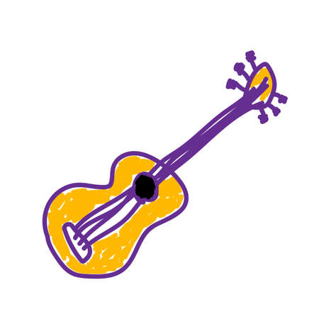 Guitar in a deliberately childish style. Imitation child drawing. Kid sketch, painting felt-tip pen or marker. Painted handmade on white background. Vector illustration Eps 10.