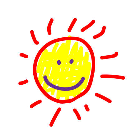 Sun in a deliberately childish style. Imitation child drawing. Kid sketch, painting felt-tip pen or marker, icon. Kid painted handmade by birthday. Vector illustration Eps 10.