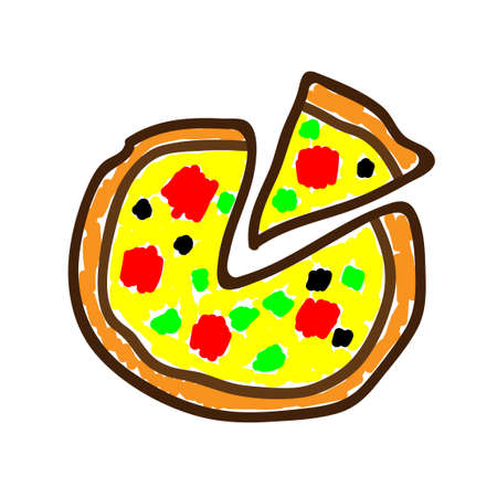 Pizza in a deliberately childish style. Child drawing. Sketch imitation painting felt-tip pen or marker. Embellish print products. Vector illustration Eps 10.
