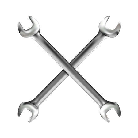Crosshairs of realistic hand wrench or spanner isolated on white background. Photo-realistic chrome metal tool. illustration.