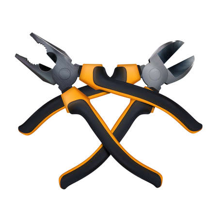 Crosshairs of orange Wire cutters and Pliers professional realistic tool with plastic handles isolated. Composition for logo, button, emblem. Kraft hand tools, fix service. Vector illustration Eps 10. Archivio Fotografico