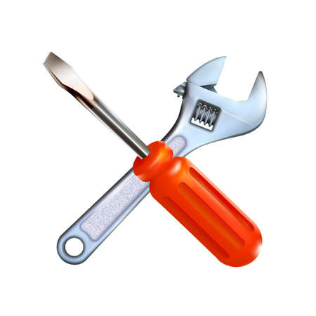 Crosshairs of realistic hand adjustable wrench and red professional screwdriver isolated on white background. 3d photo-realistic chrome metal tool illustration. Archivio Fotografico