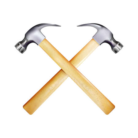 Crosshairs of steel realistic hammers with wooden handle. Work tool isolated on white background. Vector illustration Eps 10. Vettoriali