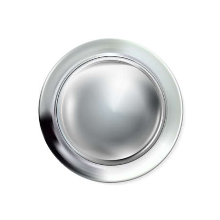 Glossy realistic chrome button silvery. Circle geometric icon technology with shadows, stainless steel for logo, design concepts, interfaces, apps or ad. Vector illustration. Eps10.