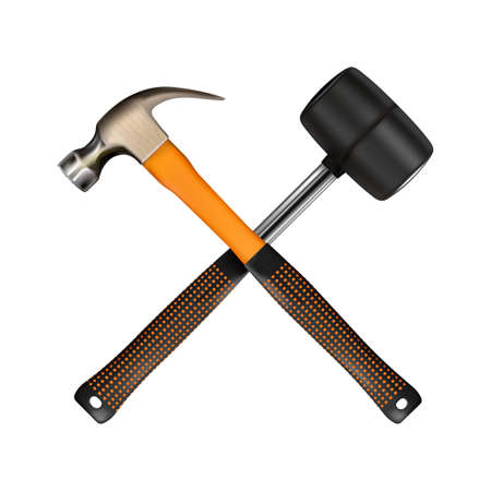 Crosshairs of realistic hammer and rubber mallet. Locksmith work, modern steel tool isolated on white background.