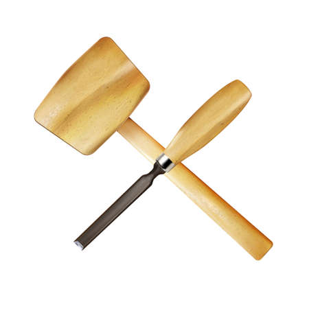 Crosshairs of wooden realistic carpenter chisel and mallet. Work tool isolated on white background. Modern craft and woodworking. Illustration.