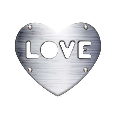 Inscription love in Heart, metal plate with rivets, icon. Symbol Valentines day sign, emblem. Style for graphic and web design, gray label.