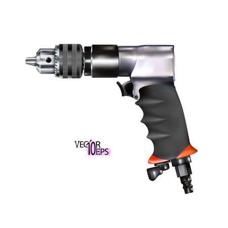 Realistic red pneumatic drill isolated on white background. Metalworking and auto repair tool. Vector illustration