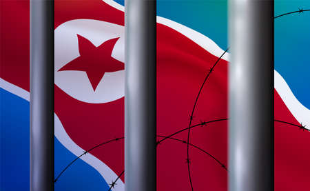 Background prison, jail in DPRK. Oppressive, repressive penal system of detention, imprisonment behind metal bars. Cell modern iron. Banner detention center. Vector illustration
