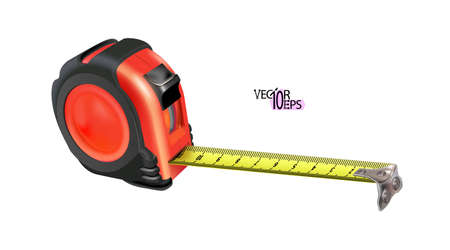 Red realistic Tape measure isolated on white background. Photo-realistic roulette construction tool isometric. Length measuring. Design case in red-black version. Vector illustration