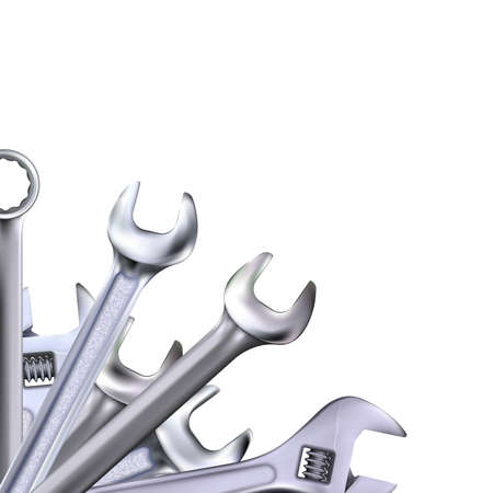 Angle decorative composition from realistic hand wrenches or spanners isolated on white background. Photo-realistic chrome metal tool illustration.