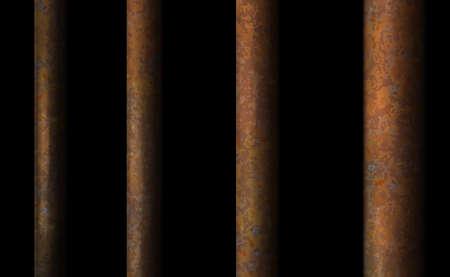 Dark background rusty prison bar. Black cell modern perspective iron interior, jail ward. Banner vector detailed illustration metal lattice. Detention center cell metallic. Isolated freedom way