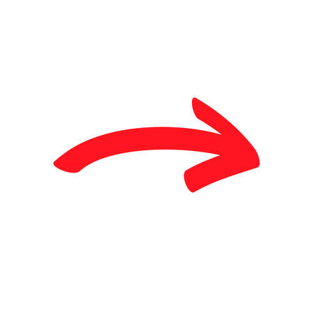 Small red curved arrow sign, slightly rounded symbol and icon for business or website button decoration in isolated light background. Vector illustration Eps 10. 向量圖像