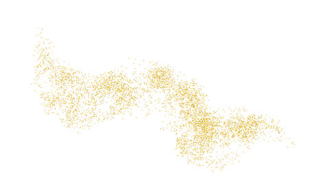 Horizontal wavy strip sprinkled with crumbs golden texture. Background Gold dust on a white background. Sand particles grain or sand. Vector backdrop golden path pieces grunge for design illustration.