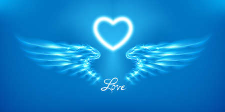 White angel wings and heart on blue background. Glowing fantasy, Valentines day attribute. Inscription love. Happy greeting card silhouette illuminated luxury glow. Design vector illustration. Eps10.