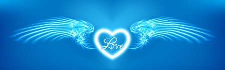 Light cyan heart and angel wings on blue background. Glowing fantasy, Valentines day attribute. Inscription love. Happy greeting card silhouette illuminated luxury glow. Vector illustration Eps 10