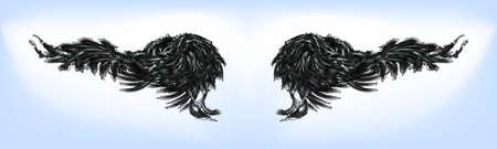 Art sketch black anime wings. Doodle nuar style, line blur. Tattoo hipster, t-shirt design, vintage style for posters. Vector illustration Eps 10. Vettoriali
