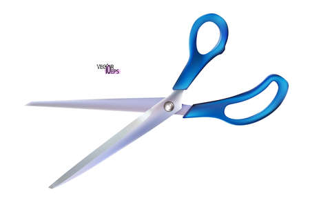 Realistic open metal scissor with blue plastic handles isolated on white background. Professional cutting tool with closed blades, for tailors and barbers, hobby and craft. Vector illustration Eps 10.