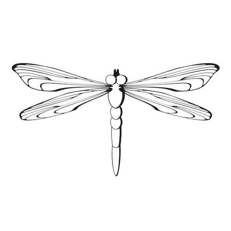 Silhouette dragonfly black pattern icon isolated on white background. Easy to scale to any size. Sign, Symbol . Vector illustration