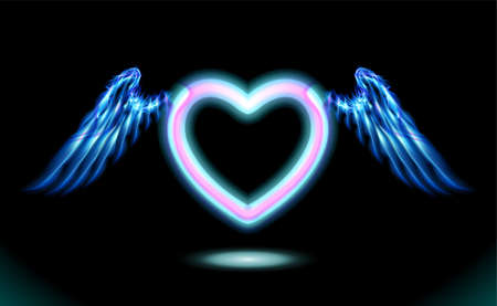 Heart anime neon with wings, blue glow radiant effect of love with space for Valentines day. Decorative holiday design, night romance concept love. Dark vector art and illumination illustration. Foto de archivo - 156111302