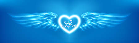 Light cyan heart and angel wings on blue background. Glowing fantasy, Valentines day attribute. Inscription love. Happy greeting card silhouette illuminated luxury glow. Vector illustration Foto de archivo - 156935533