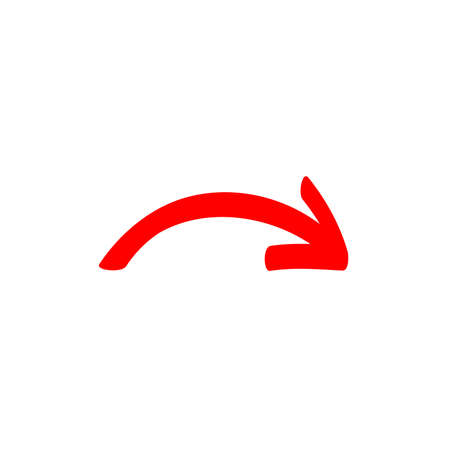 little red curved arrow sign, symbol and icon for business or website button decoration in isolated light background. Vector illustration Eps 10. Foto de archivo - 156460705