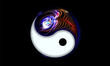 Yin and yang button, icon isolated on black background decorated luminescence peacock feather. Spiritual relaxation of glowing mandala cosmic for yoga meditation. Vector illustration