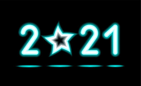 Simply of glowing neon numbers 2021 with stars. New Year illumination for Design on black, dark background. Fluorescent object, Abstract, glowing lamp. Luminescent holiday ad, vector illustration. Foto de archivo - 156936526