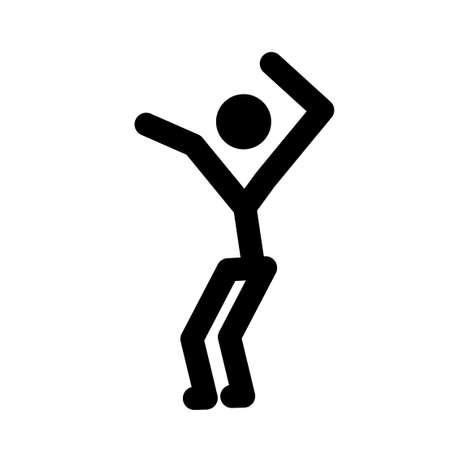 Stick man, dynamic position icon. Figures, standing posture symbol, sign. Pictogram isolated on white background. Foto de archivo - 156679076