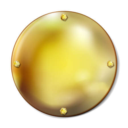 Realistic round golden plate with gold screws isolated on white background. Style for graphic and web design, label, template. Cover, stopper. Vector illustration Foto de archivo - 156739262