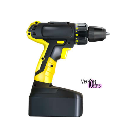 Realistic yellow black cordless drill professional tool isolated on white background. Construction and metalworking. Vector illustration Eps 10