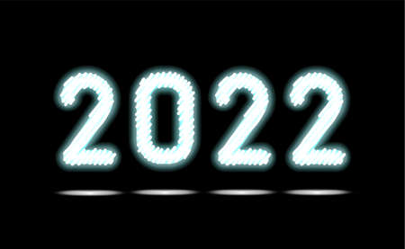 Simply white fluorescent light or glowing neon numbers 2022. New Year illumination on black, dark background. Technology abstract object, glowing lamp. Luminescent holiday ad, vector illustration. 矢量图像