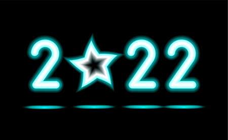 Simply of glowing neon numbers 2022 with stars. New Year illumination for Design on black, dark background. Fluorescent object, Abstract, glowing lamp. Luminescent holiday ad, vector illustration. 矢量图像