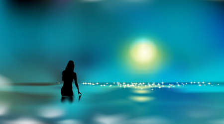 Beautiful seascape, female silhouette. Girl touching water surface. Woman standing in sea or ocean, dark night. Vacation in tropical.