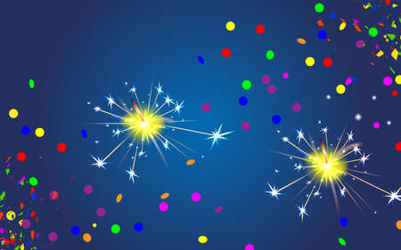 Christmas and Happy New Year blue background with bengal fire and festive confetti. Sparkler light effect. Party firework magic. Winter Xmas carnival.