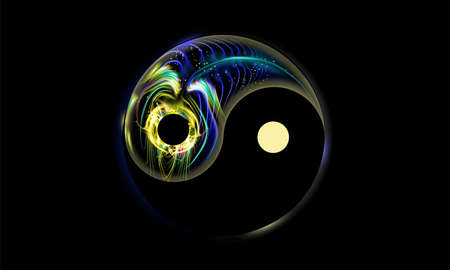 Yin and yang button, icon isolated on black background, decorated luminescence fantastic peacock feather. Spiritual relaxation of glowing mandala cosmic for yoga meditation.